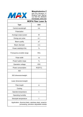 MFPT-20 MOPA 20W fiber laser source from Maxphotonics