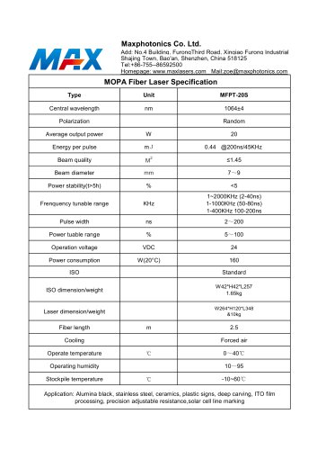 MFPT-20S Specification MOPA20S fiber laser source from Maxphotonics