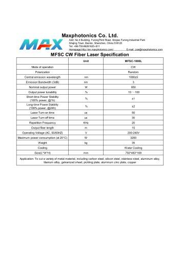MFSC-1000L Maxphotonics CW1000W fiber laser source for cutting water cooled