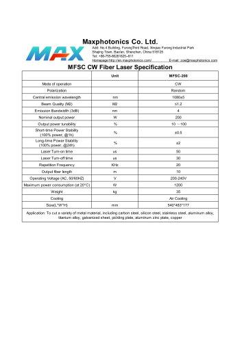 MFSC-200 Maxphotonics CW200W fiber laser source for cutting air cooled