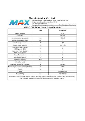 MFSC-500 Maxphotonics CW500W fiber laser source for cutting water cooled