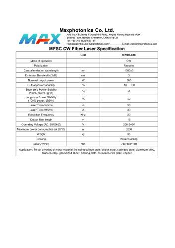 MFSC-800 Maxphotonics CW800W fiber laser source for cutting water cooled