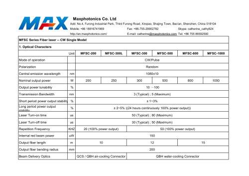 NEW 200W~1000W Fiber Lasers