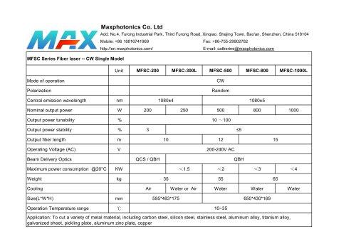 NEW CW 500W 800W 1KW Specification