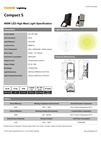 Compact S 400W LED High Mast Light