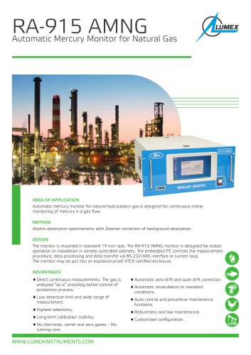 Automatic mercury monitor for natural gas RA-915 AMNG