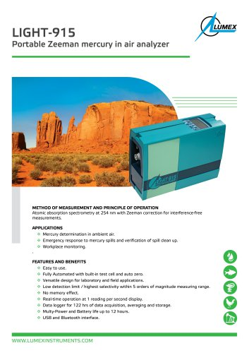 Portable mercury in air analyzer Light-915