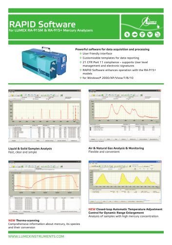 Software RAPID for mercury analyzers