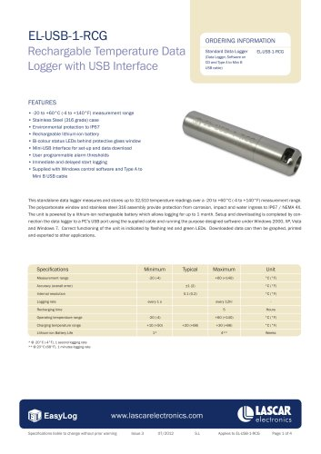 EL-USB-1-RCG, Rechargable Temperature Data Logger with USB Interface