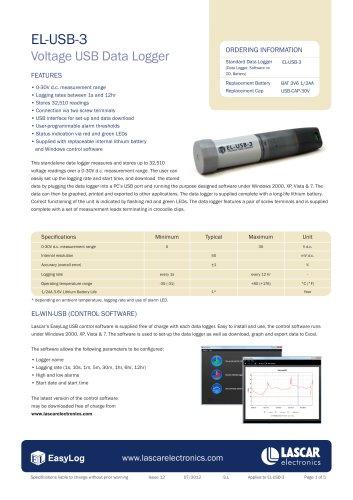 EL-USB-3, Voltage USB Data Logger