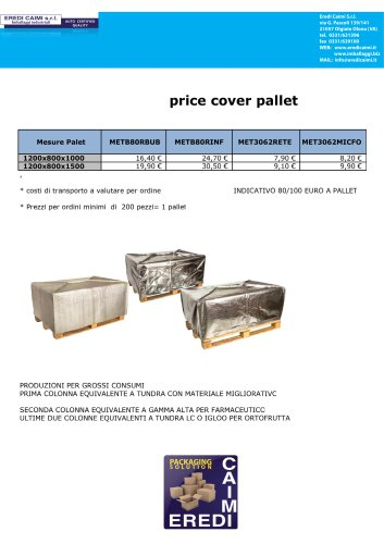 thermal cover for pallets
