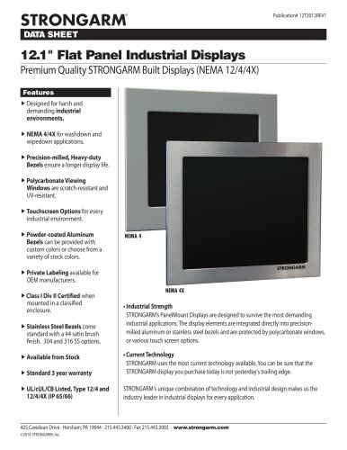 "12.1"" Flat Panel Industrial Displays"