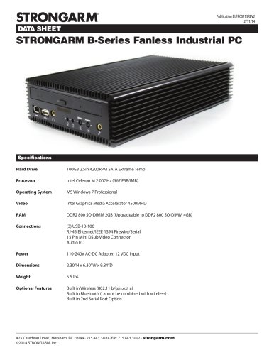 STRONGARM B-Series Fanless Industrial PC