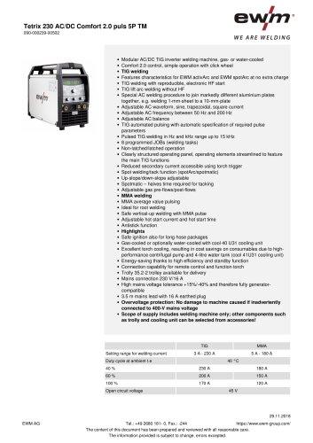 Tetrix 230 AC/DC Comfort 2.0