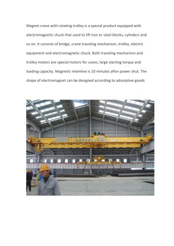 Magnet crane with rotating trolley
