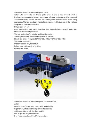 trolley with two hhoks for double girder crane