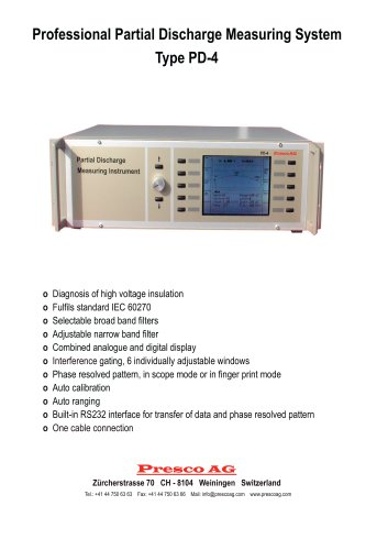 PD-4 Professional Partial Discharge Measuring System