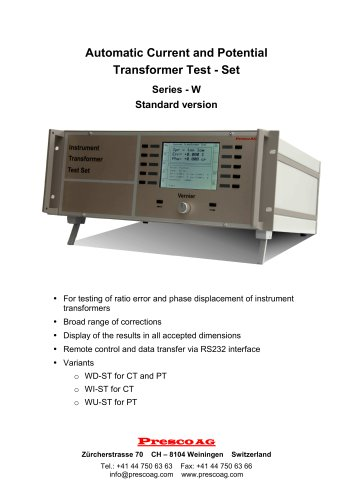 W Series - Automatic Current and Potential Transformer Test