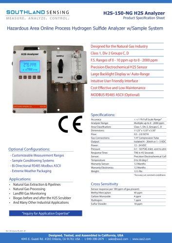 H2S-150-NG Hazardous Area Online Process Hydrogen Sulfide Analyzer