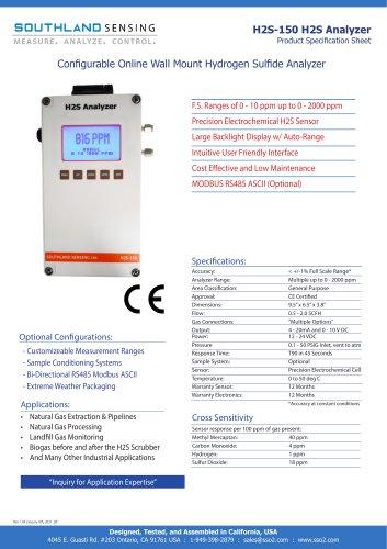 H2S-150 Online Wall Mount Hydrogen Sulfide Analyzer