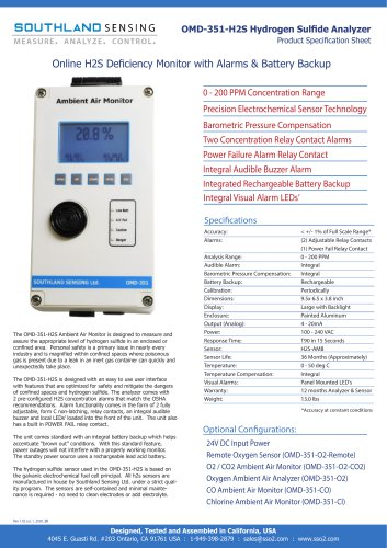 OMD-351-H2S Online Ambient Hydrogen Sulfide Monitor