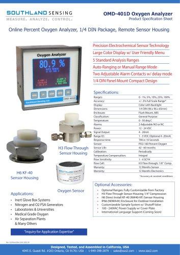 OMD-401D Online Percent Oxygen Analyzer