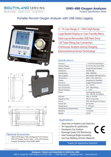 OMD-480 Portable Percent Oxygen Analyzer