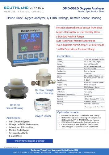 OMD-501D Online Trace Oxygen Analyzer