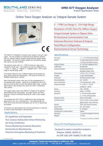 OMD-677 Online Trace Oxygen Analyzer