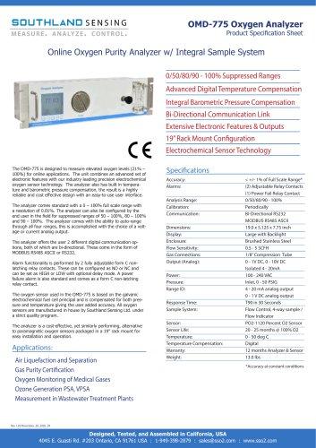 OMD-775 Online Oxygen Purity Analyzer
