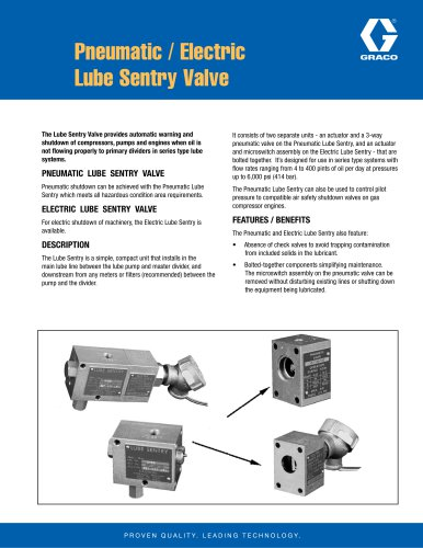 Pneumatic / Electric Lube Sentry Valve