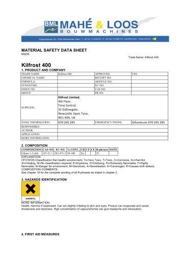 SDSKF4ENEU-A Kilfrost 400 Safety Data Sheet