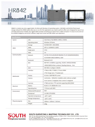 Tablet PC/GNSS/ Bluetooth/Windows 10/ 4GB RAM HR842 SOUTH