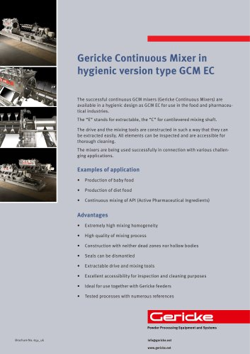Continuous mixer in hygienic version
