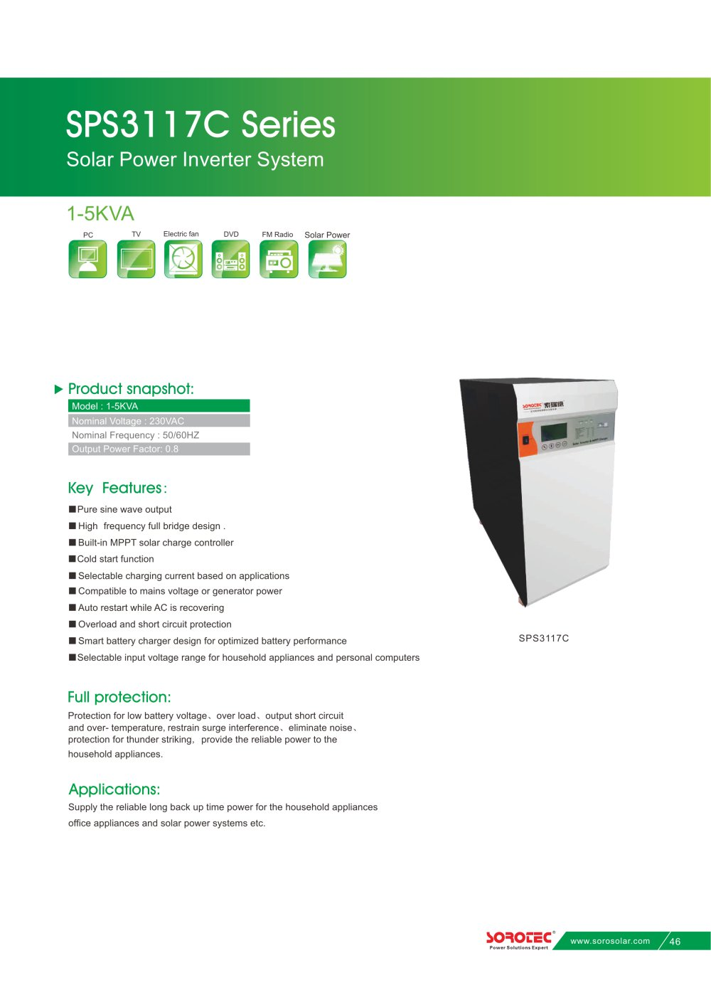 Solar Power Inverter System Sps3117c 1 5kva Shenzhen Soro And Battery Low Voltage Protection Short Circuit Protectionin Car 3 Pages