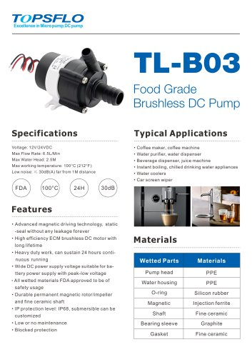 B03 - Brushless mini water pump,coffee pump