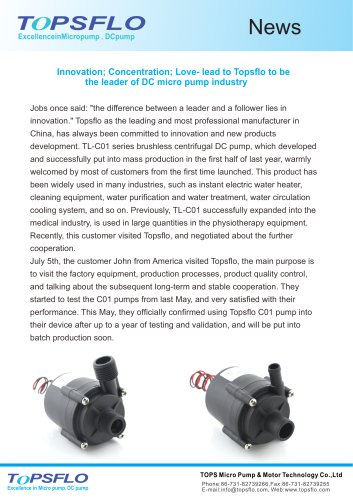 Love- lead to Topsflo to be the leader of DC micro pump industry