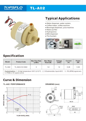 TL-A02H High temperature mini water pump