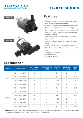 TL-B10 12v 24v Brushless dc water pump