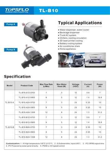 TL-B10-A 12V 24V DC Micro centrifugal  small Pump