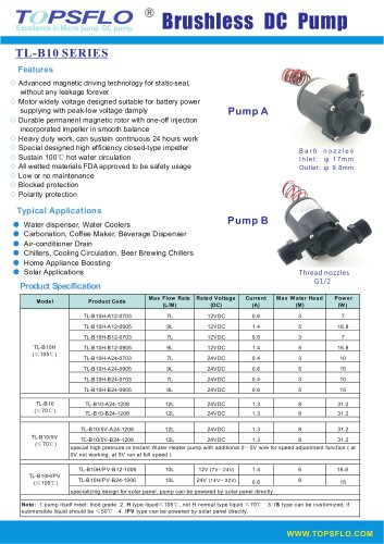 TL-B10H Centrifugal Brushless DC Pump
