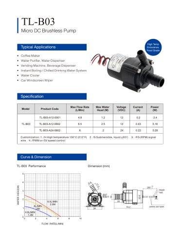 TOPSFLO Brushless DC Pump,coffee  pump