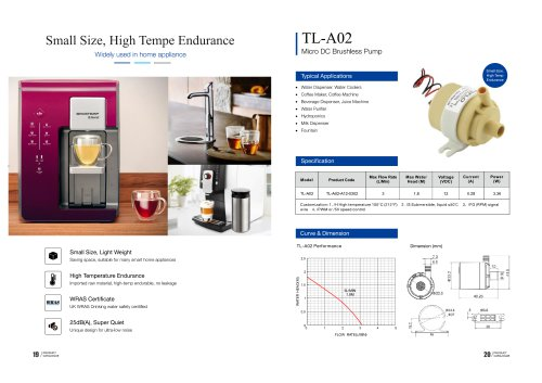 TOPSFLO Small Size, High Tempe Endurance home appliance pump