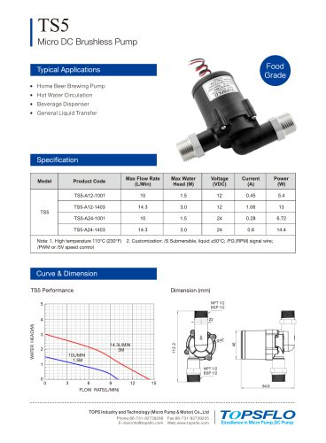 TS5- Home Brewing Beer Brushless DC Pump