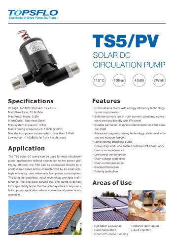 TS5 solar dc water pump,hot water circulation pump