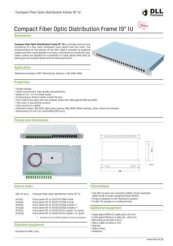 "Compact Fiber Optic Distribution Frame 19"" 1U"