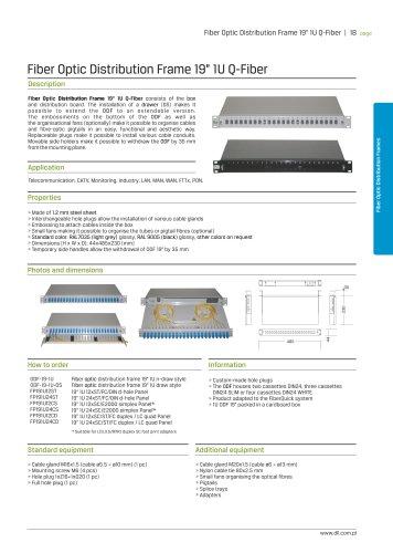 "Fiber Optic Distribution Frame 19"" 1U Q-Fiber"