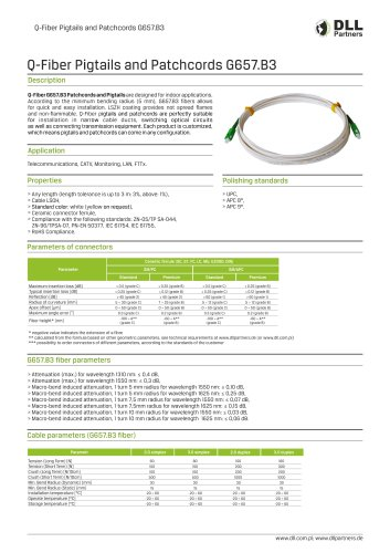 Q-Fiber Pigtails and Patchcords G657.B3