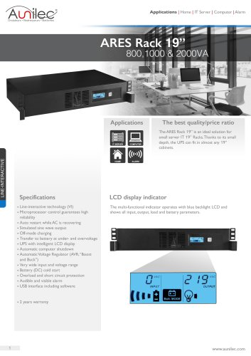 """ARES Rack 19"""" 800,1000 and 2000VA"""