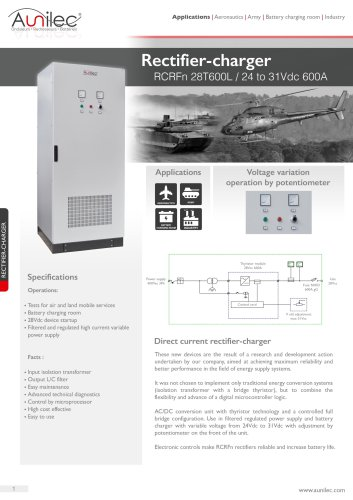 Rectifier-charger RCRFn 28V600A